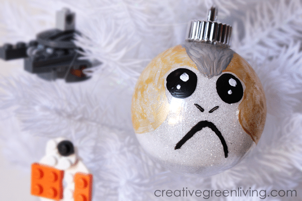 A Star Wars ornament created ot look like a porg.