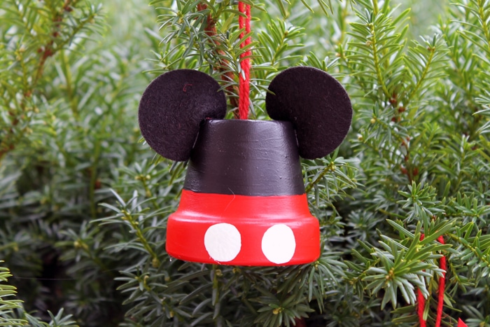 A homemade Mickey Mouse-themed DIY Disney ornament.