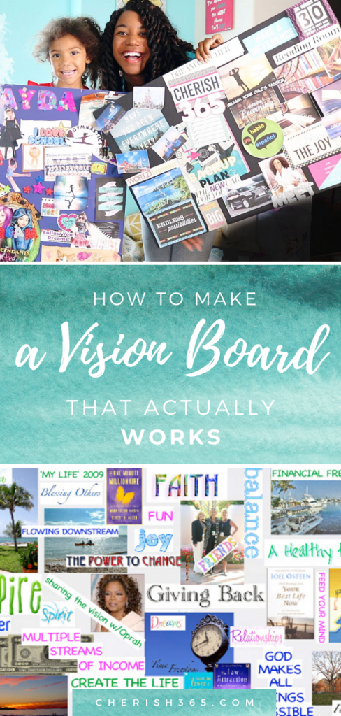 Images of vision board examples including a digital vision board
