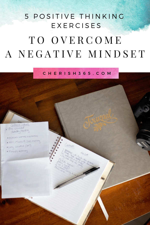 A gratitude journal is a great positive thinking exercise . Here are 4 more practices I love to help keep negative mindsets at bay. #positivethinking #mindset #personaldevelopment