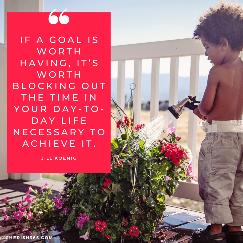 If a goal is worth having, it's worth blocking out the time in your day-to-day life necessary to achieve it. Jill Koenig quote