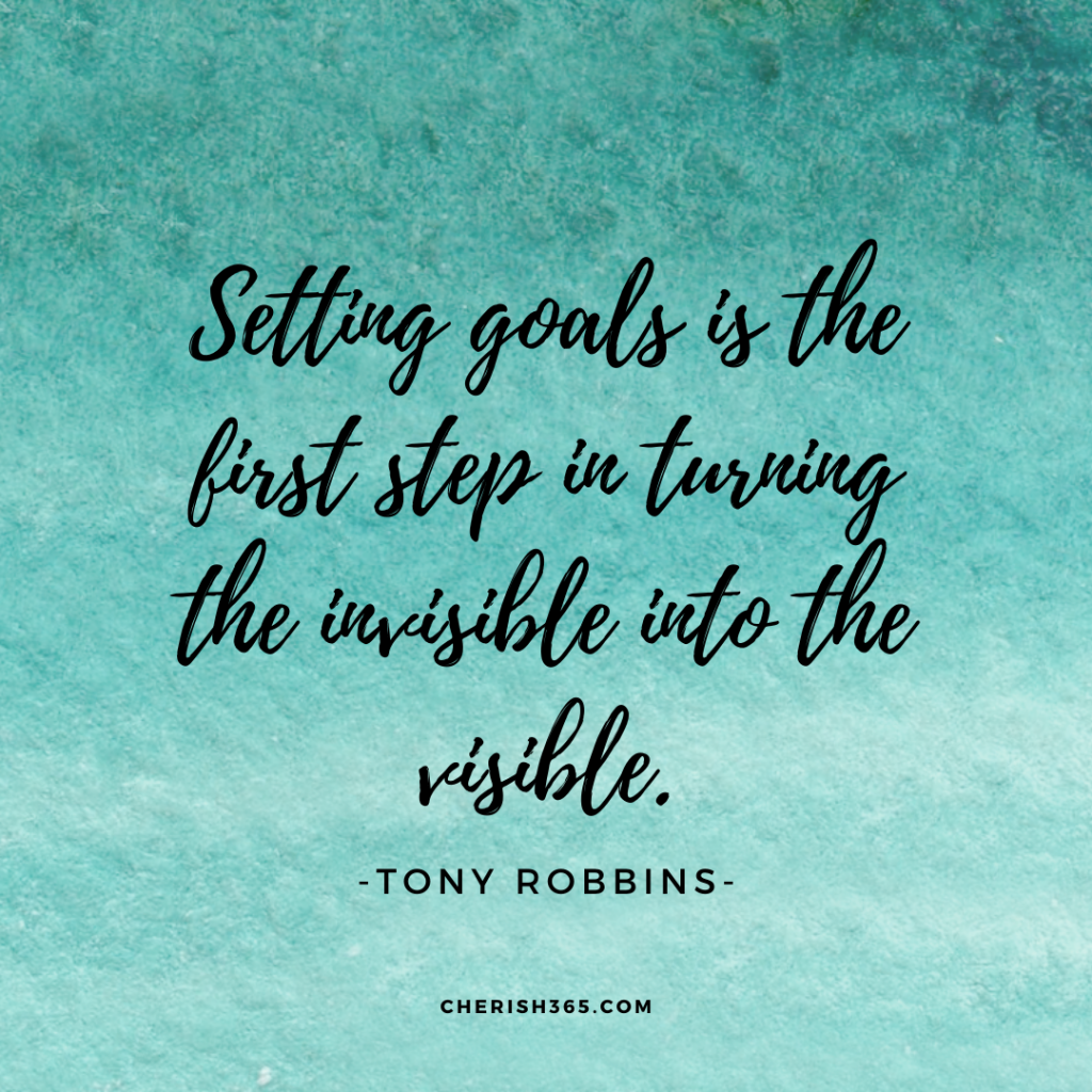 Setting goals is the first step in turning the invisible into the visible Tony Robbins quote
