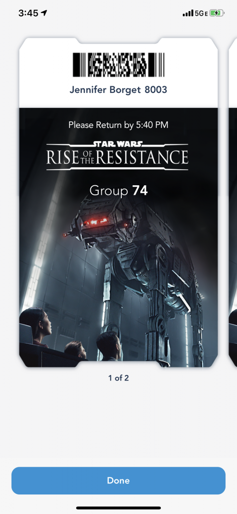 A screenshot showing what a Rise of the Resistance boarding group pass looks like.