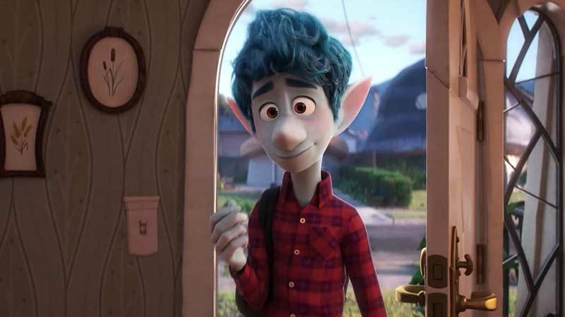 Blue troll standing in his door.