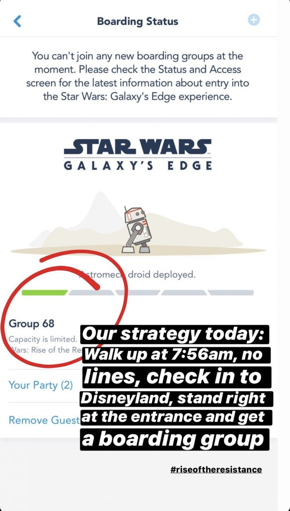 A screenshot showing how to get a low boarding group number for Rise of the Resistance.