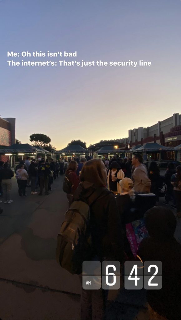 The wait line to get into security at Disneyland before the opening of Rise of the Resistance.