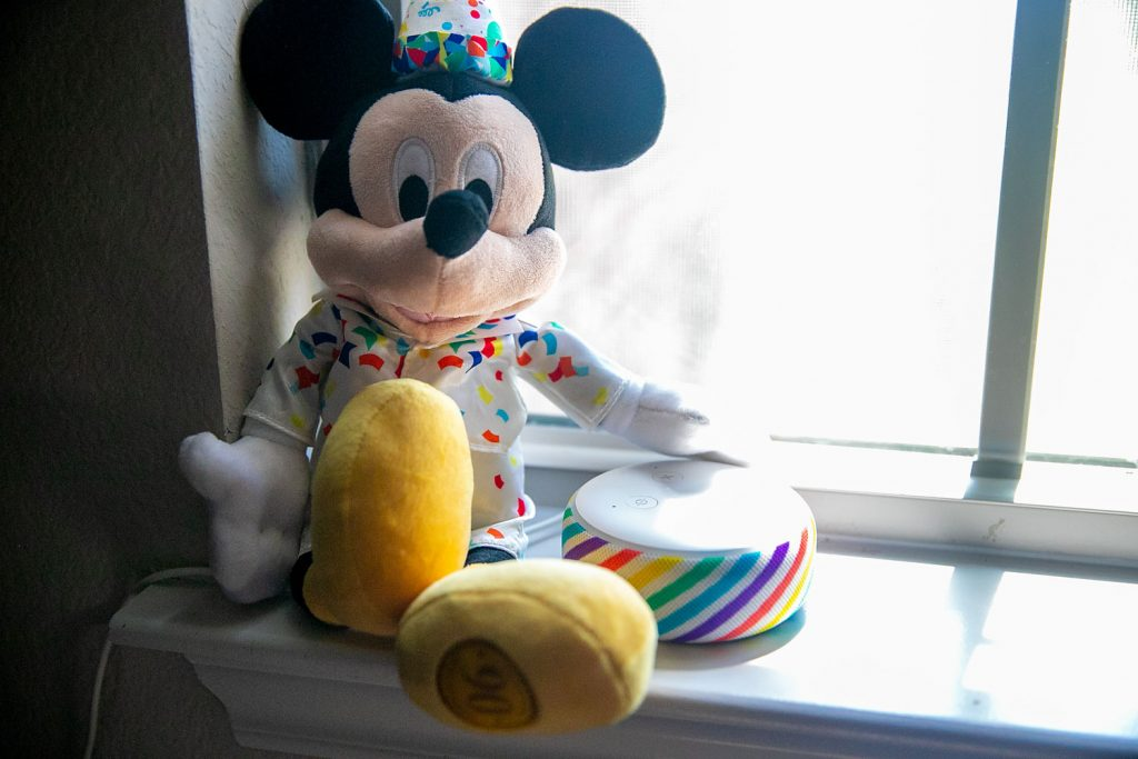 Mickey mouse and a rainbow echo dot for kids