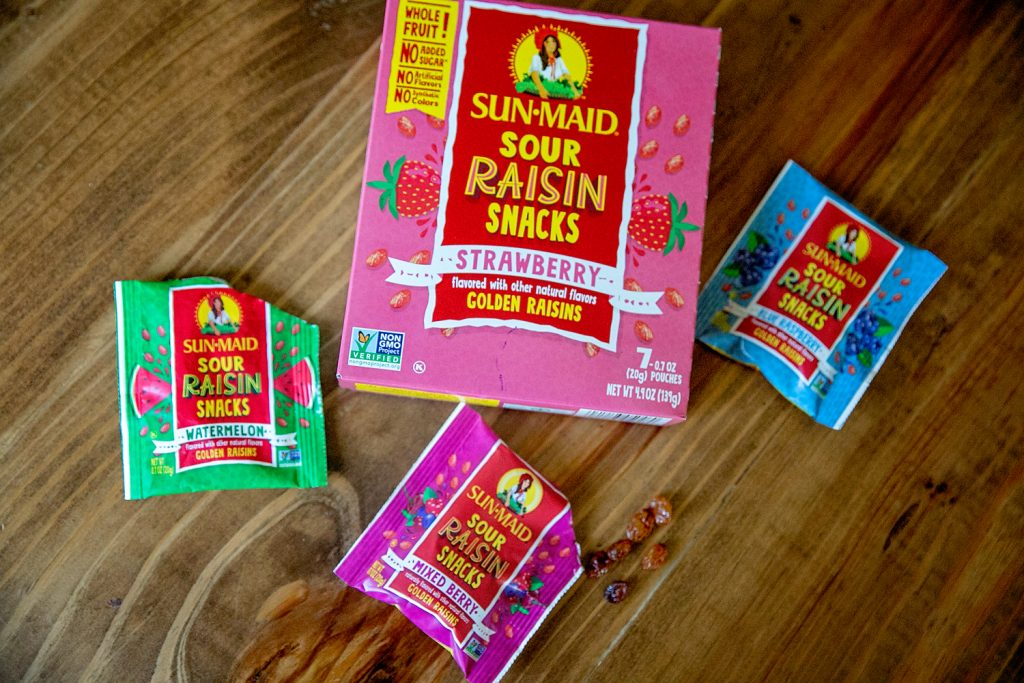 sun-maid sour raisin snacks review