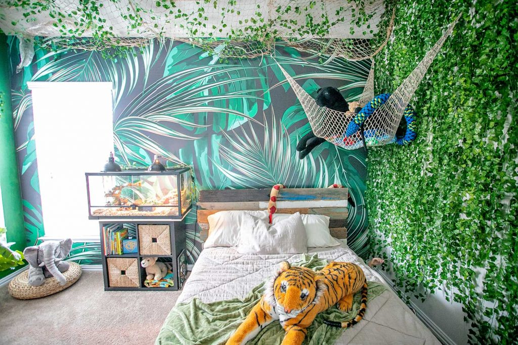 Jungle themed room decorated for a boys room
