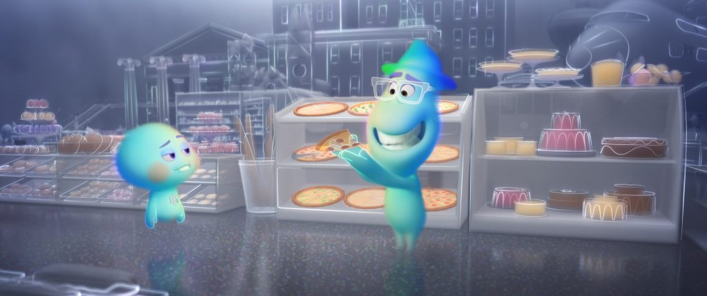 Two animated souls smiling over pizza in Pixar's Soul scary for kids? There is death involved. Here's a parents review and a spoiler-free review.