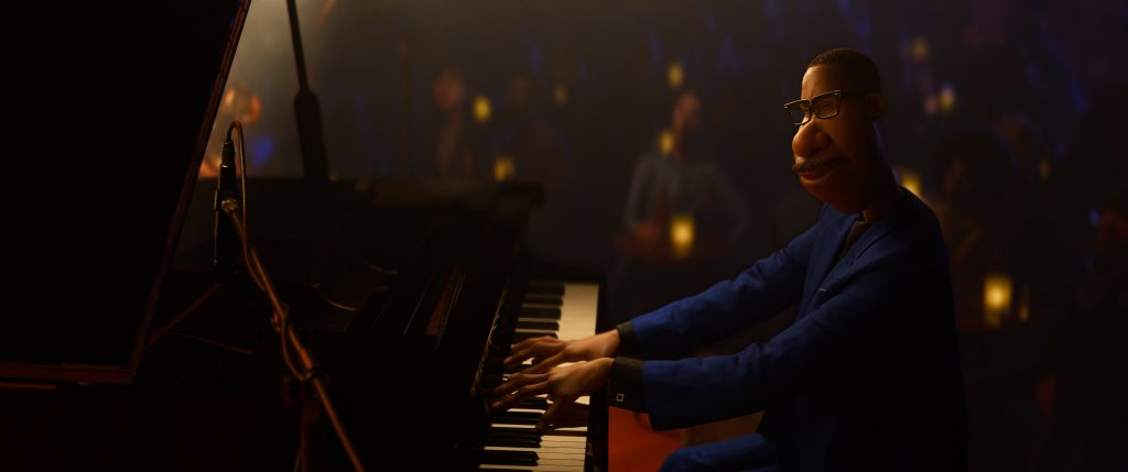 Black main character playing piano in a scene from from Pixar's Soul coming to Disney Plus on Christmas