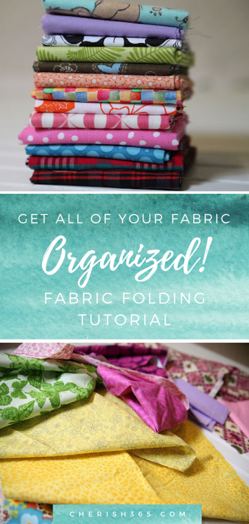 Here's a simple and affordable way to fold the fabric in an easy fabric folding tutorial. This will be an easy way to get all your fabrics organized!