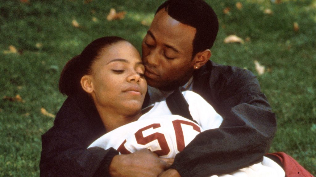 A movie still from Love and Basketball a romantic sports film. A date night movie checklist idea.