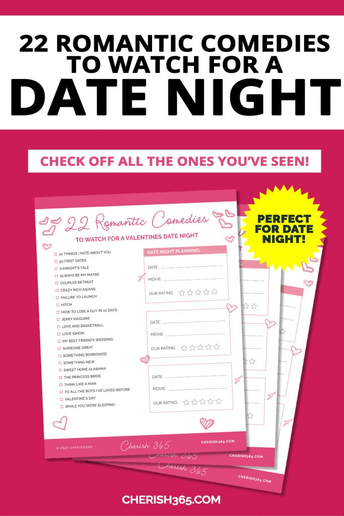 A free date night movie checklist to print and enjoy with your partner