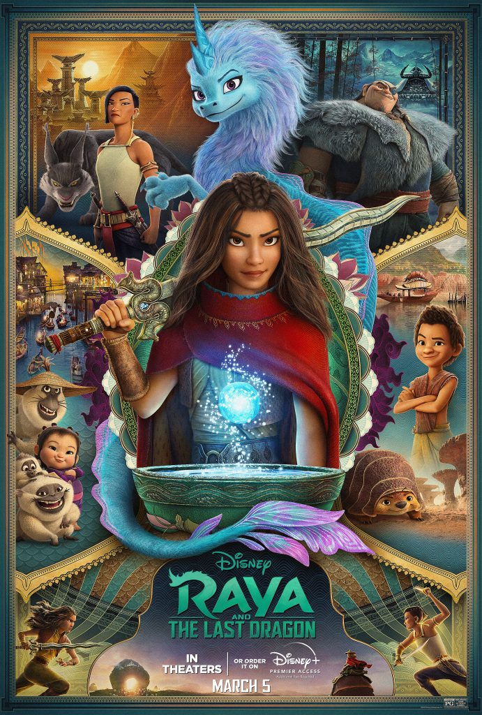 Raya and the last dragon review: a movie poster featuring rara and sisu and other characters from the film.