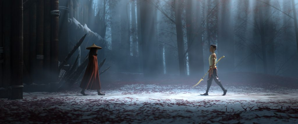 Is Raya and the last dragon scary for kids? Two princesses face off in this dark and dreary image.