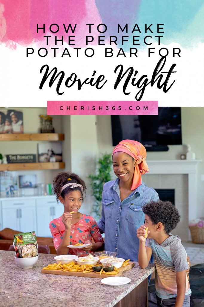 Here's a delicious idea... Make a potato bar for movie night, paired with a fabulous family friendly film! Here are some ideas for both!