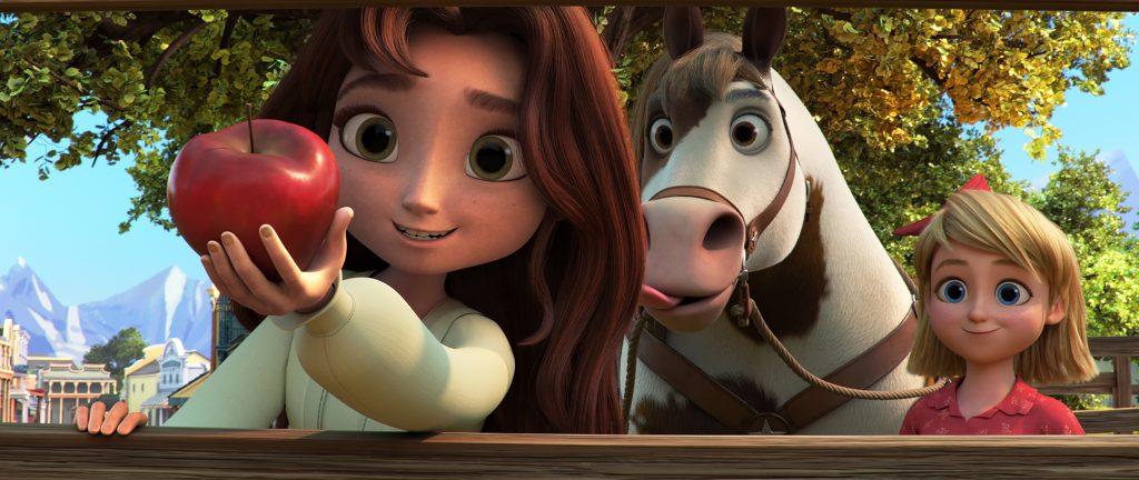 Dreamworks animation Lucky givingSpirit an apple.