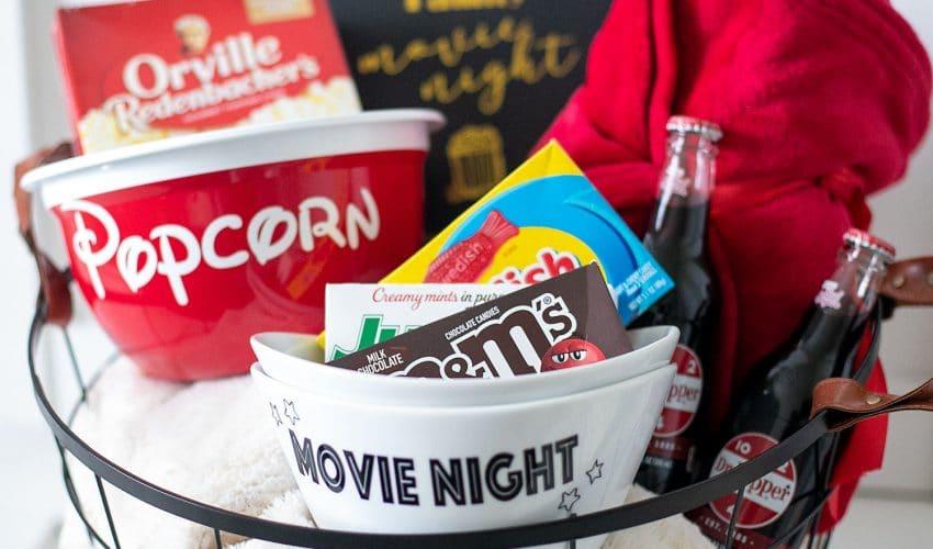 movie night gift basket idea